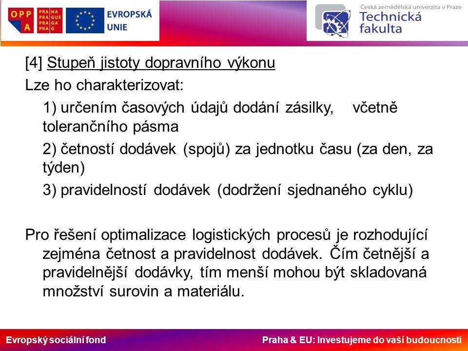 Evropský sociální fond Praha & EU: Investujeme do vaší budoucnosti [4] Stupeň jistoty dopravního výkonu Lze ho charakterizovat: 1) určením časových údajů dodání zásilky, včetně tolerančního pásma 2) četností dodávek (spojů) za jednotku času (za den, za týden) 3) pravidelností dodávek (dodržení sjednaného cyklu) Pro řešení optimalizace logistických procesů je rozhodující zejména četnost a pravidelnost dodávek.