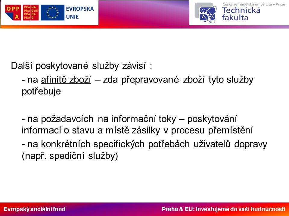 Evropský sociální fond Praha & EU: Investujeme do vaší budoucnosti Další poskytované služby závisí : - na afinitě zboží – zda přepravované zboží tyto služby potřebuje - na požadavcích na informační toky – poskytování informací o stavu a místě zásilky v procesu přemístění - na konkrétních specifických potřebách uživatelů dopravy (např.