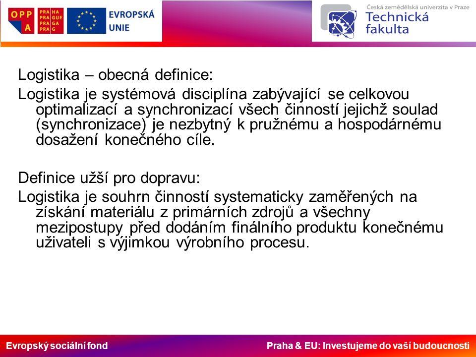 Evropský sociální fond Praha & EU: Investujeme do vaší budoucnosti Logistika – obecná definice: Logistika je systémová disciplína zabývající se celkovou optimalizací a synchronizací všech činností jejichž soulad (synchronizace) je nezbytný k pružnému a hospodárnému dosažení konečného cíle.