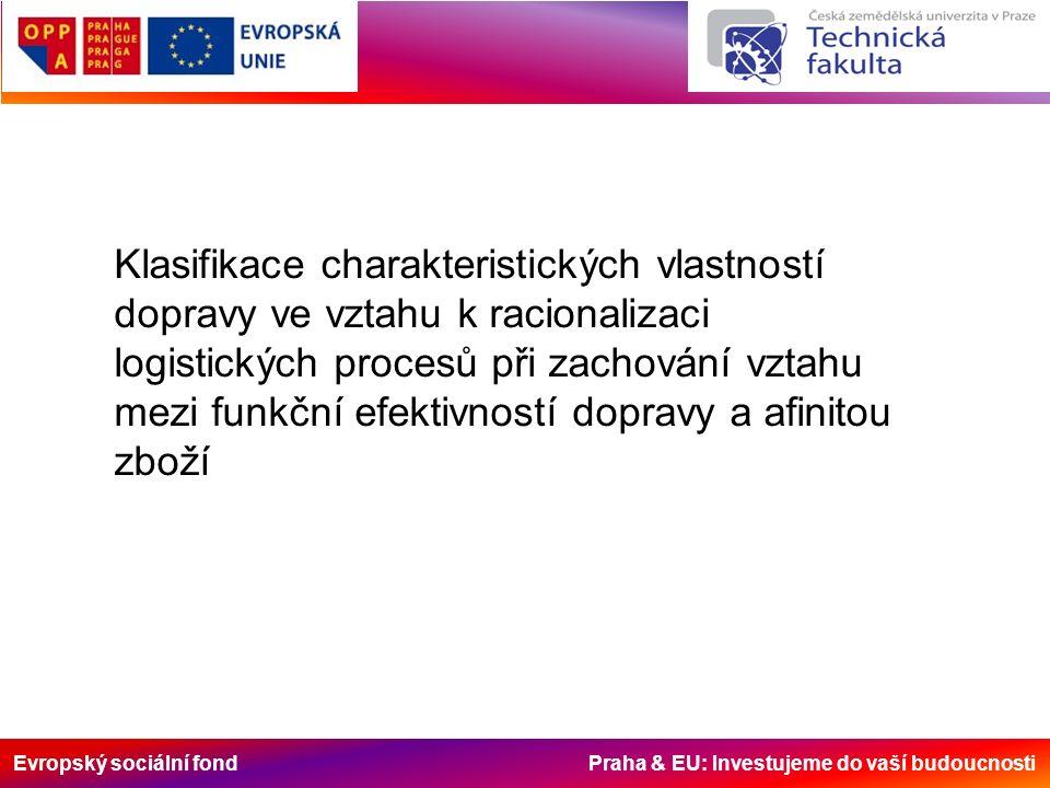 Evropský sociální fond Praha & EU: Investujeme do vaší budoucnosti Klasifikace charakteristických vlastností dopravy ve vztahu k racionalizaci logistických procesů při zachování vztahu mezi funkční efektivností dopravy a afinitou zboží