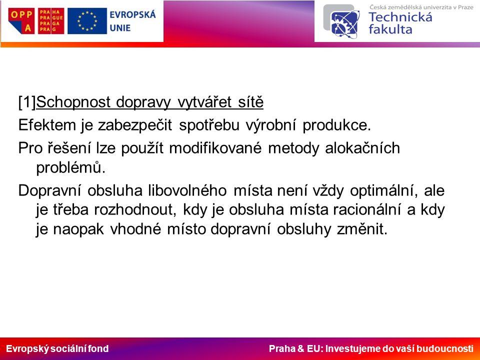 Evropský sociální fond Praha & EU: Investujeme do vaší budoucnosti [1]Schopnost dopravy vytvářet sítě Efektem je zabezpečit spotřebu výrobní produkce.