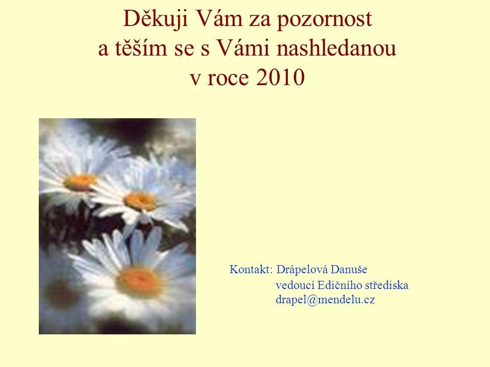 Děkuji Vám za pozornost a těším se s Vámi nashledanou v roce 2010 Kontakt: Drápelová Danuše vedoucí Edičního střediska drapel@mendelu.cz