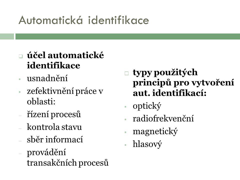 Automatická identifikace  účel automatické identifikace  usnadnění  zefektivnění práce v oblasti: – řízení procesů – kontrola stavu – sběr informací – provádění transakčních procesů  typy použitých principů pro vytvoření aut.