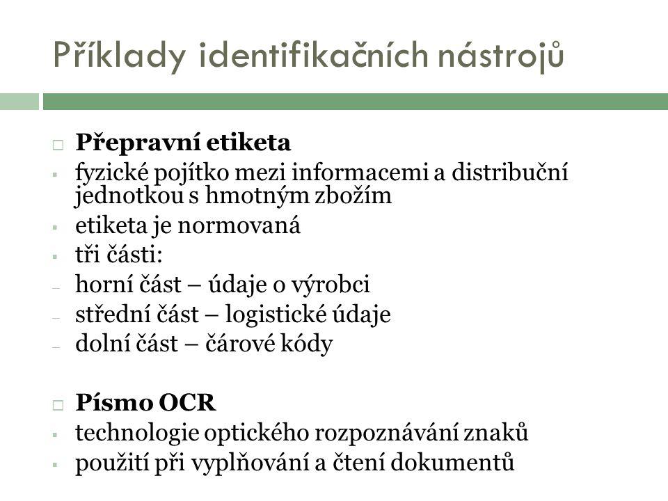 Příklady identifikačních nástrojů  Přepravní etiketa  fyzické pojítko mezi informacemi a distribuční jednotkou s hmotným zbožím  etiketa je normovaná  tři části: – horní část – údaje o výrobci – střední část – logistické údaje – dolní část – čárové kódy  Písmo OCR  technologie optického rozpoznávání znaků  použití při vyplňování a čtení dokumentů