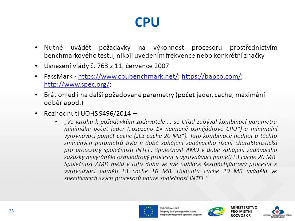 Nutné uvádět požadavky na výkonnost procesoru prostřednictvím benchmarkového testu, nikoli uvedením frekvence nebo konkrétní značky Usnesení vlády č.