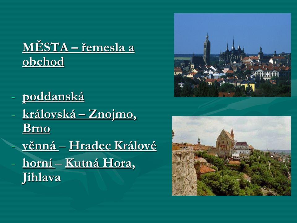 MĚSTA – řemesla a obchod -poddanská -královská – Znojmo, Brno -věnná – Hradec Králové -horní – Kutná Hora, Jihlava