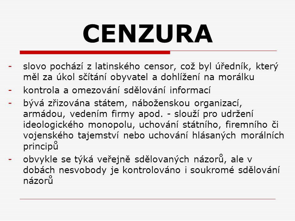 CENZURA -slovo pochází z latinského censor, což byl úředník, který měl za úkol sčítání obyvatel a dohlížení na morálku -kontrola a omezování sdělování