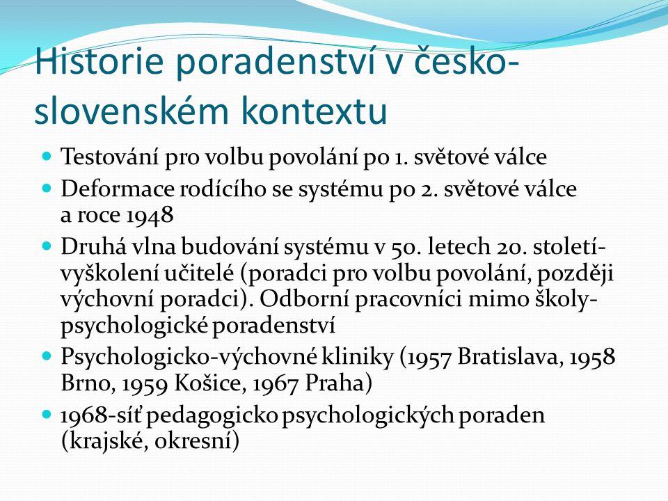 Historie poradenství v česko- slovenském kontextu Testování pro volbu povolání po 1.