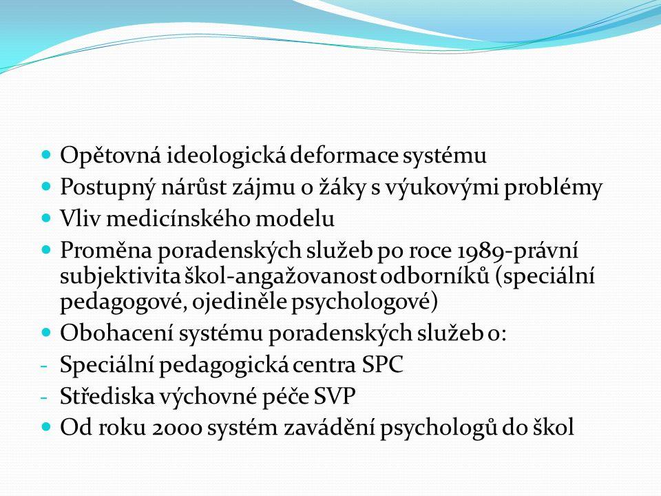 Opětovná ideologická deformace systému Postupný nárůst zájmu o žáky s výukovými problémy Vliv medicínského modelu Proměna poradenských služeb po roce 1989-právní subjektivita škol-angažovanost odborníků (speciální pedagogové, ojediněle psychologové) Obohacení systému poradenských služeb o: - Speciální pedagogická centra SPC - Střediska výchovné péče SVP Od roku 2000 systém zavádění psychologů do škol