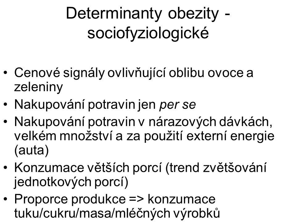 Determinanty obezity - sociofyziologické Cenové signály ovlivňující oblibu ovoce a zeleniny Nakupování potravin jen per se Nakupování potravin v nárazových dávkách, velkém množství a za použití externí energie (auta) Konzumace větších porcí (trend zvětšování jednotkových porcí) Proporce produkce => konzumace tuku/cukru/masa/mléčných výrobků
