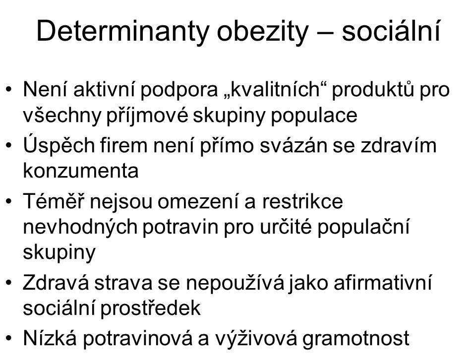 """Determinanty obezity – sociální Není aktivní podpora """"kvalitních"""" produktů pro všechny příjmové skupiny populace Úspěch firem není přímo svázán se zdr"""