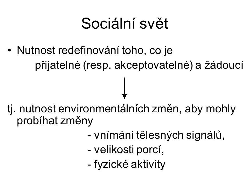 Sociální svět Nutnost redefinování toho, co je přijatelné (resp. akceptovatelné) a žádoucí tj. nutnost environmentálních změn, aby mohly probíhat změn