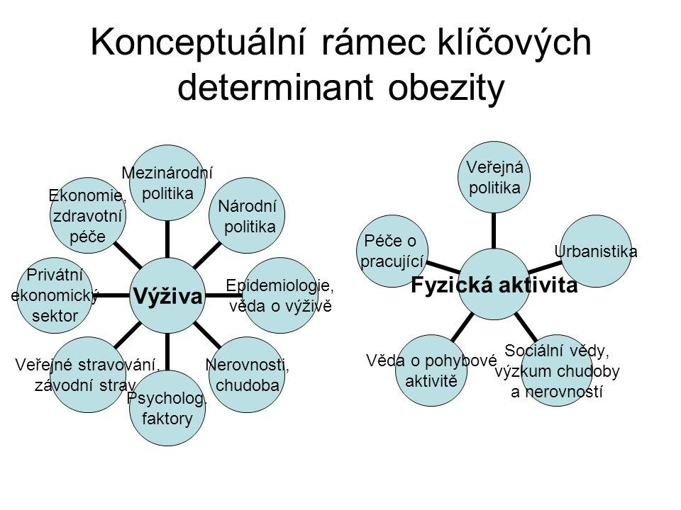 Konceptuální rámec klíčových determinant obezity Výživa Mezinárodní politika Národní politika Epidemiologie, věda o výživě Nerovnosti, chudoba Psycholog.