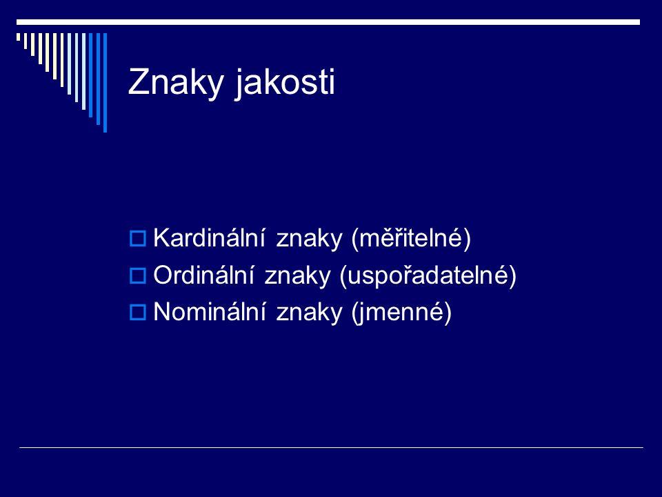 Znaky jakosti  Kardinální znaky (měřitelné)  Ordinální znaky (uspořadatelné)  Nominální znaky (jmenné)