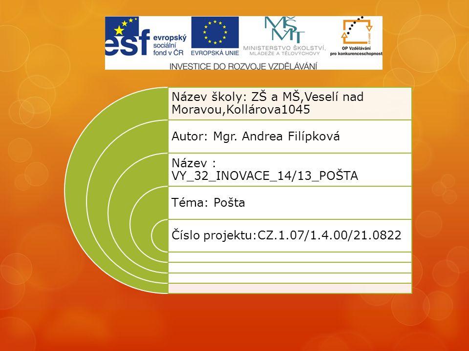 Název školy: ZŠ a MŠ,Veselí nad Moravou,Kollárova1045 Autor: Mgr.