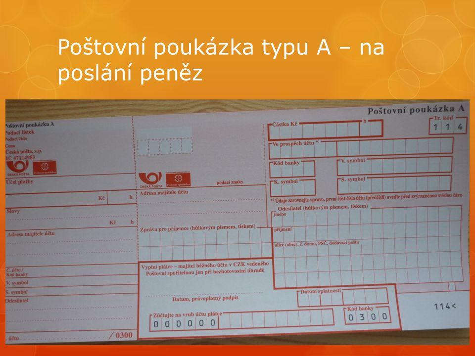 Poštovní poukázka typu A – na poslání peněz