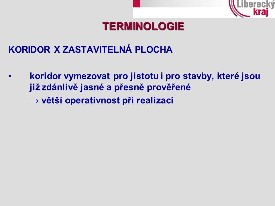 KORIDOR X ZASTAVITELNÁ PLOCHA koridor vymezovat pro jistotu i pro stavby, které jsou již zdánlivě jasné a přesně prověřené → větší operativnost při realizaci TERMINOLOGIE