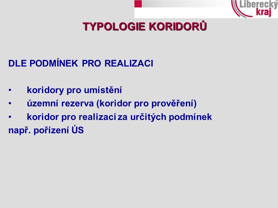 DLE PODMÍNEK PRO REALIZACI koridory pro umístění územní rezerva (koridor pro prověření) koridor pro realizaci za určitých podmínek např. pořízení ÚS T