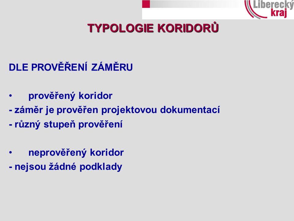 DLE PROVĚŘENÍ ZÁMĚRU prověřený koridor - záměr je prověřen projektovou dokumentací - různý stupeň prověření neprověřený koridor - nejsou žádné podklady TYPOLOGIE KORIDORŮ