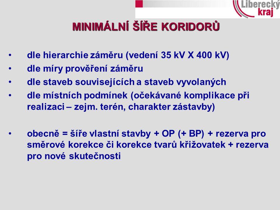 dle hierarchie záměru (vedení 35 kV X 400 kV) dle míry prověření záměru dle staveb souvisejících a staveb vyvolaných dle místních podmínek (očekávané