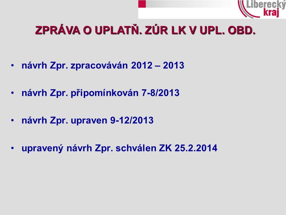 ZPRÁVA O UPLATŇ. ZÚR LK V UPL. OBD. návrh Zpr. zpracováván 2012 – 2013 návrh Zpr. připomínkován 7-8/2013 návrh Zpr. upraven 9-12/2013 upravený návrh Z