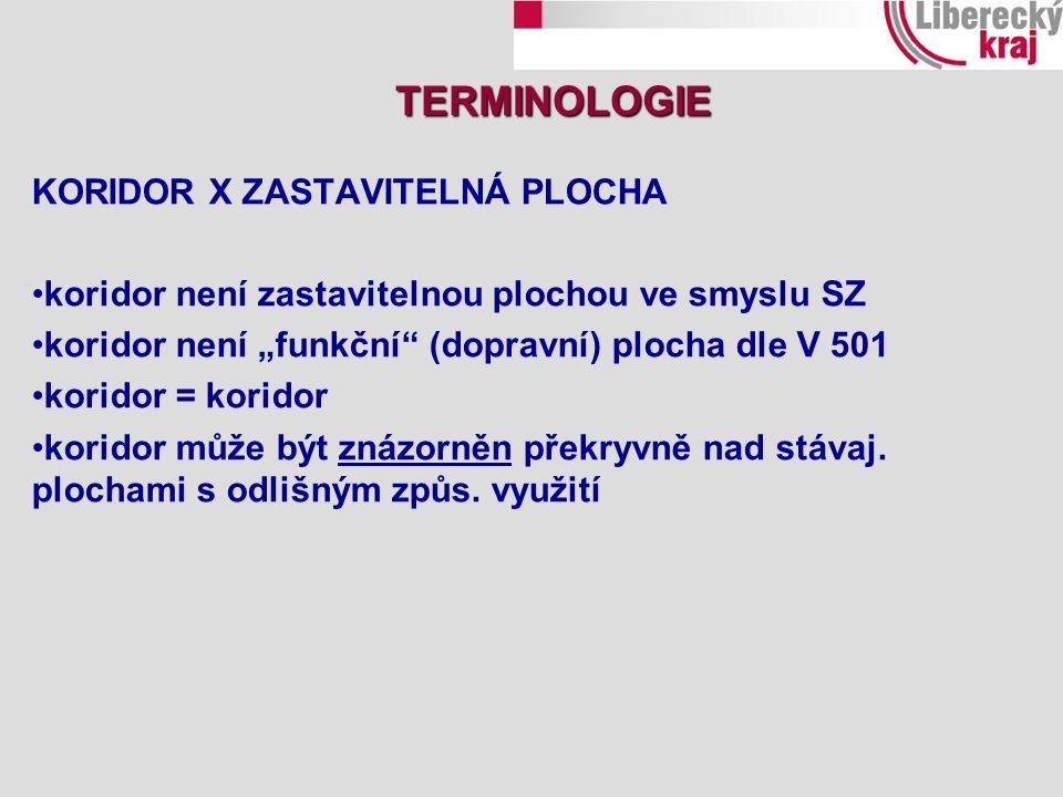 """KORIDOR X ZASTAVITELNÁ PLOCHA koridor není zastavitelnou plochou ve smyslu SZ koridor není """"funkční (dopravní) plocha dle V 501 koridor = koridor koridor může být znázorněn překryvně nad stávaj."""