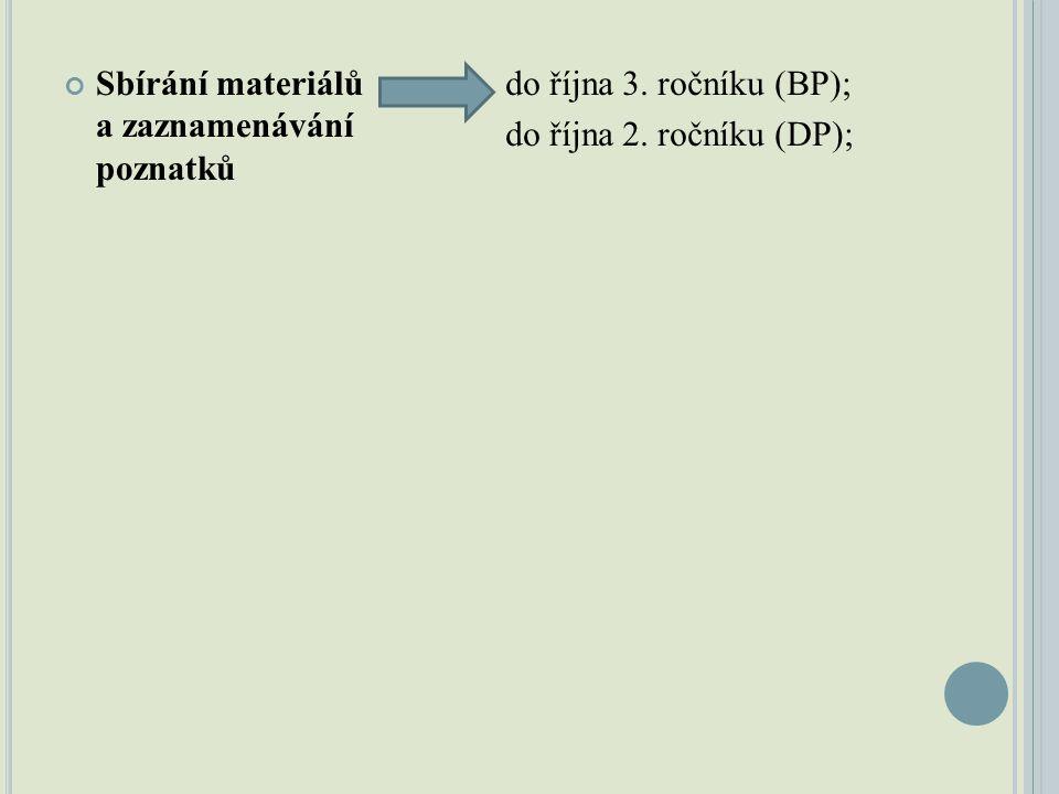 Sbírání materiálů a zaznamenávání poznatků do října 3. ročníku (BP); do října 2. ročníku (DP);