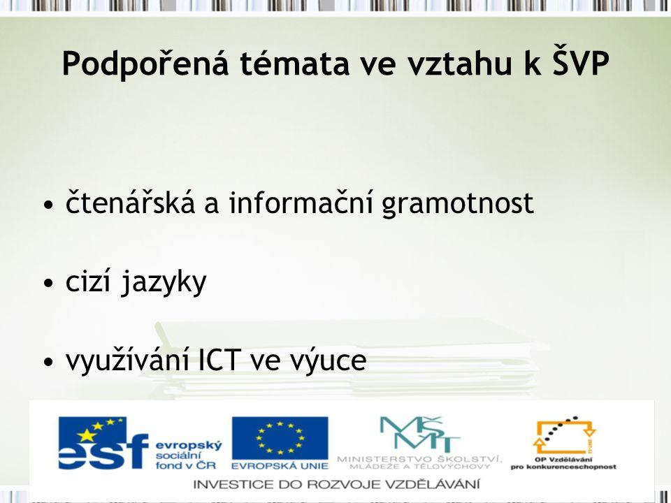 Podpořená témata ve vztahu k ŠVP čtenářská a informační gramotnost cizí jazyky využívání ICT ve výuce