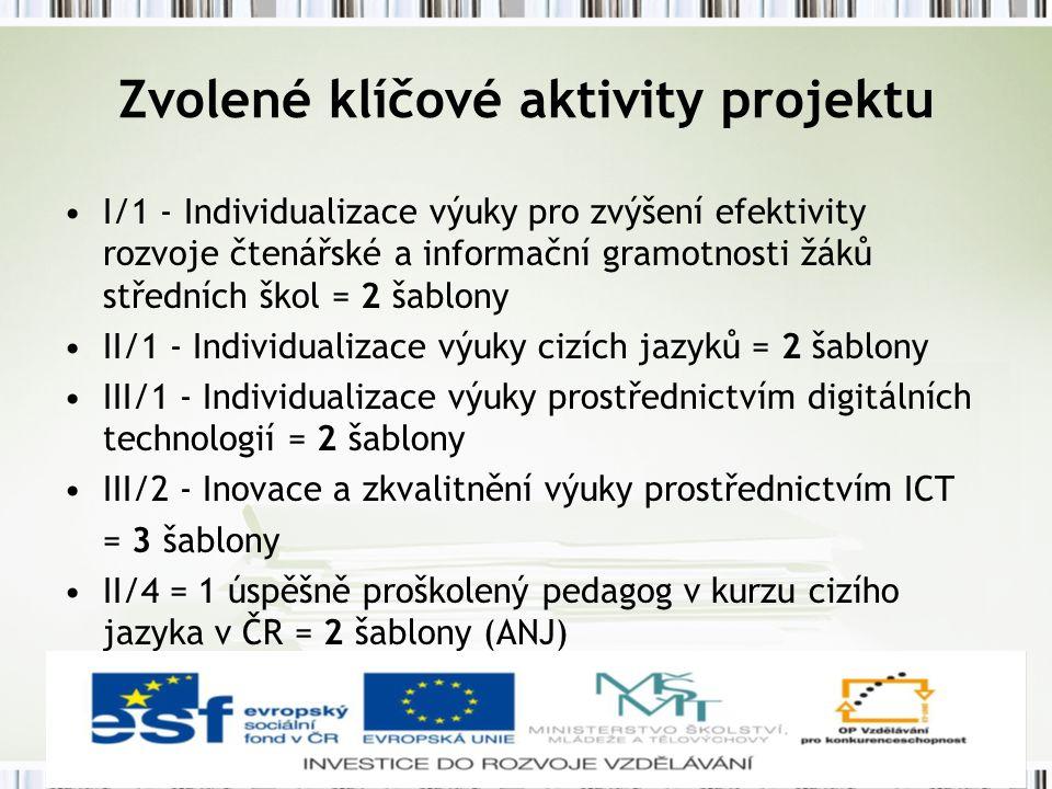 Zvolené klíčové aktivity projektu I/1 - Individualizace výuky pro zvýšení efektivity rozvoje čtenářské a informační gramotnosti žáků středních škol = 2 šablony II/1 - Individualizace výuky cizích jazyků = 2 šablony III/1 - Individualizace výuky prostřednictvím digitálních technologií = 2 šablony III/2 - Inovace a zkvalitnění výuky prostřednictvím ICT = 3 šablony II/4 = 1 úspěšně proškolený pedagog v kurzu cizího jazyka v ČR = 2 šablony (ANJ)
