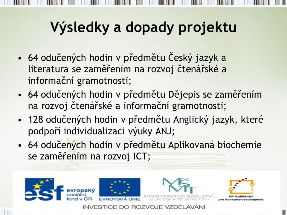 Výsledky a dopady projektu 64 odučených hodin v předmětu Český jazyk a literatura se zaměřením na rozvoj čtenářské a informační gramotnosti; 64 odučených hodin v předmětu Dějepis se zaměřením na rozvoj čtenářské a informační gramotnosti; 128 odučených hodin v předmětu Anglický jazyk, které podpoří individualizaci výuky ANJ; 64 odučených hodin v předmětu Aplikovaná biochemie se zaměřením na rozvoj ICT;