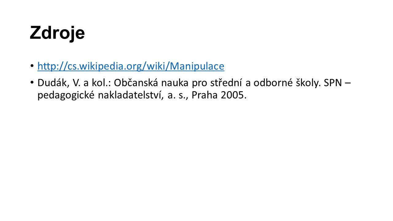 Zdroje http://cs.wikipedia.org/wiki/Manipulace Dudák, V.