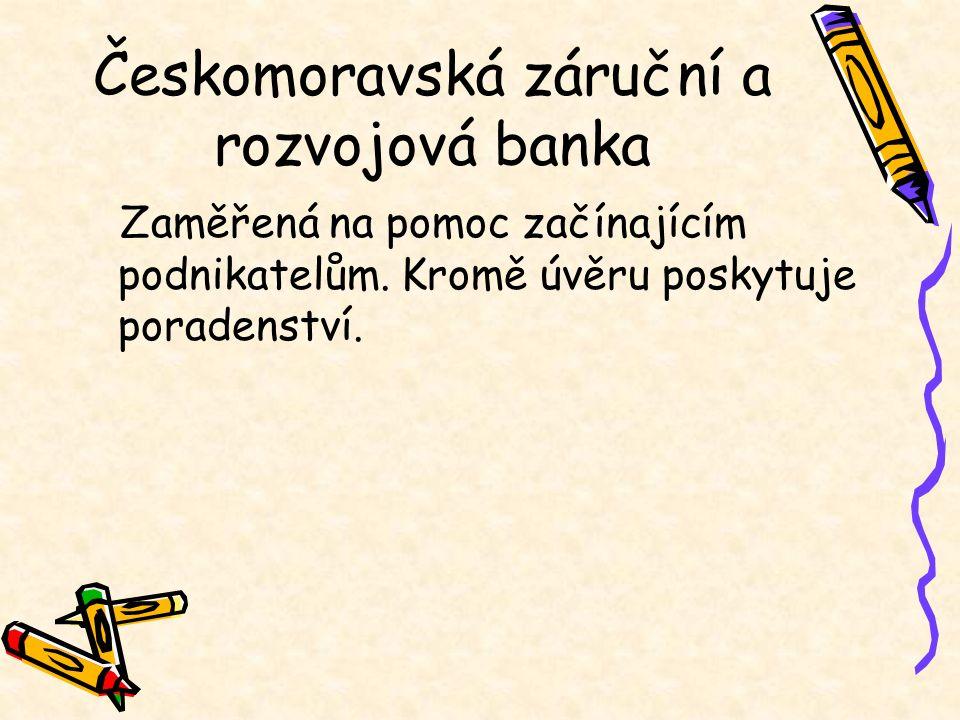 Českomoravská záruční a rozvojová banka Zaměřená na pomoc začínajícím podnikatelům. Kromě úvěru poskytuje poradenství.