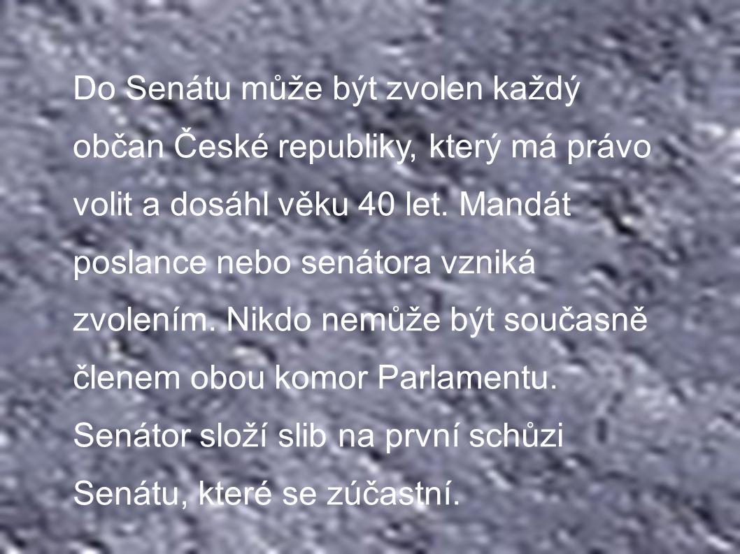 Do Senátu může být zvolen každý občan České republiky, který má právo volit a dosáhl věku 40 let.