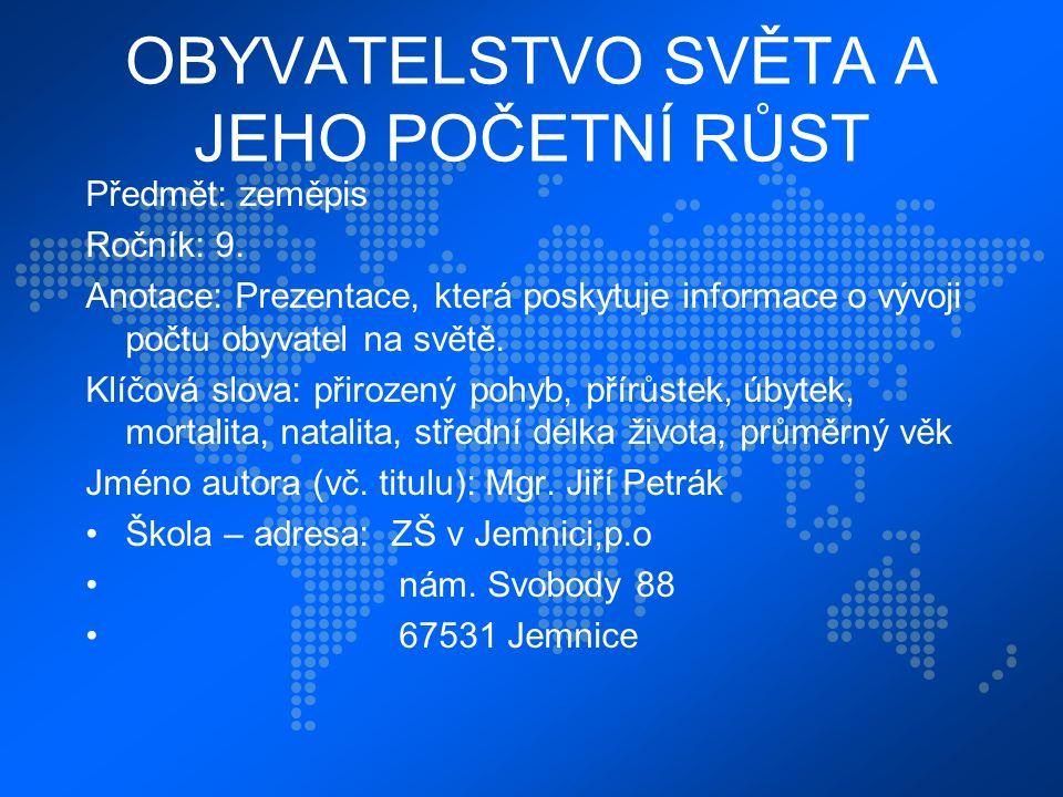 OBYVATELSTVO SVĚTA A JEHO POČETNÍ RŮST Předmět: zeměpis Ročník: 9.