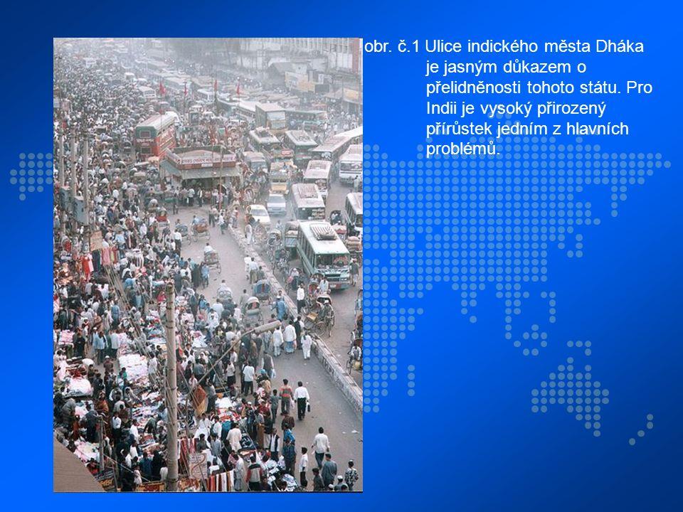 obr. č.1 Ulice indického města Dháka je jasným důkazem o přelidněnosti tohoto státu. Pro Indii je vysoký přirozený přírůstek jedním z hlavních problém