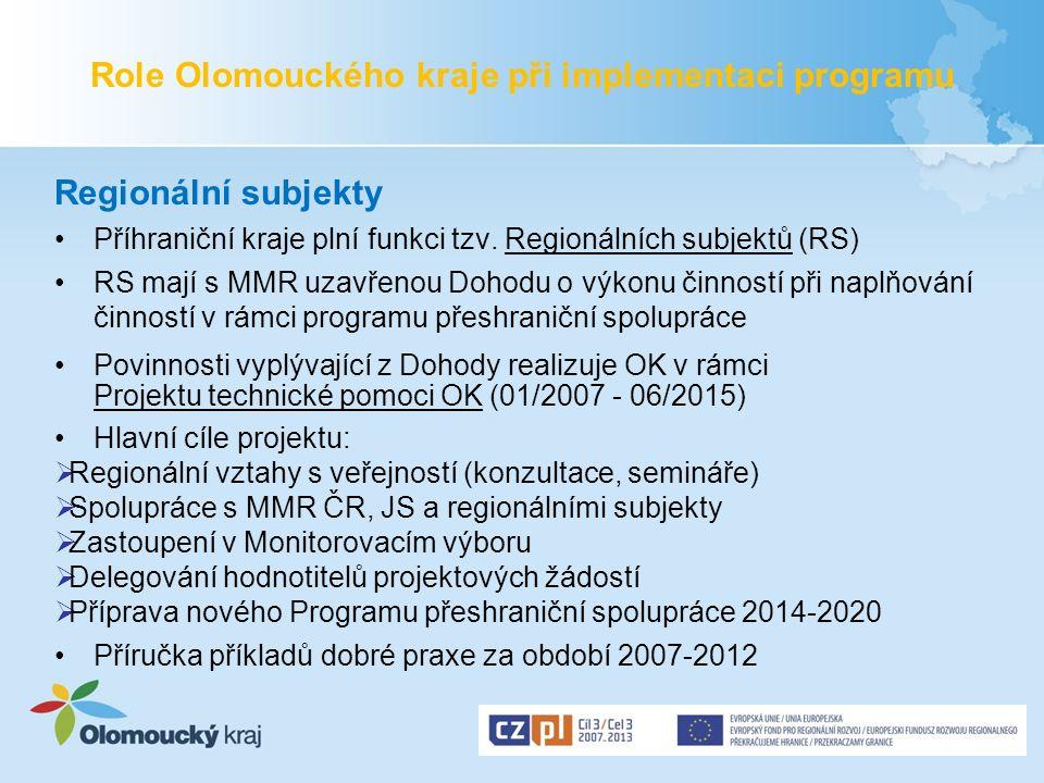 Role Olomouckého kraje při implementaci programu Regionální subjekty Příhraniční kraje plní funkci tzv. Regionálních subjektů (RS) RS mají s MMR uzavř