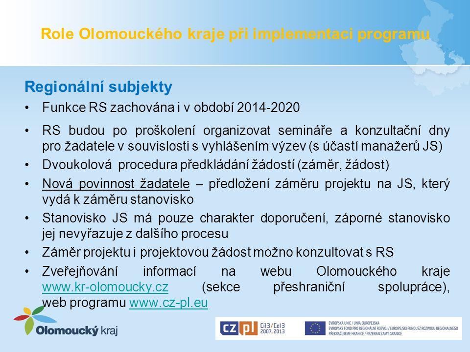 Role Olomouckého kraje při implementaci programu Regionální subjekty Funkce RS zachována i v období 2014-2020 RS budou po proškolení organizovat semin