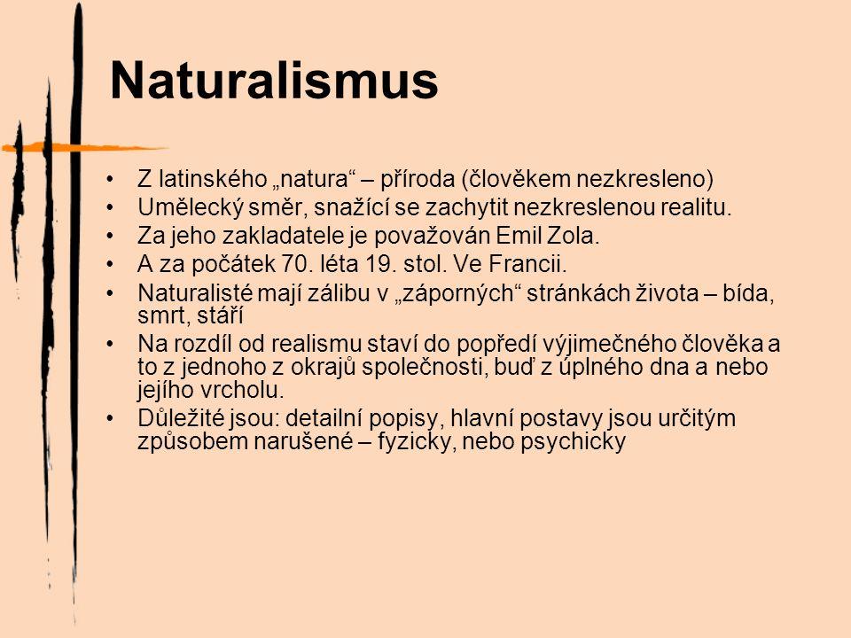 """Naturalismus Z latinského """"natura – příroda (člověkem nezkresleno) Umělecký směr, snažící se zachytit nezkreslenou realitu."""