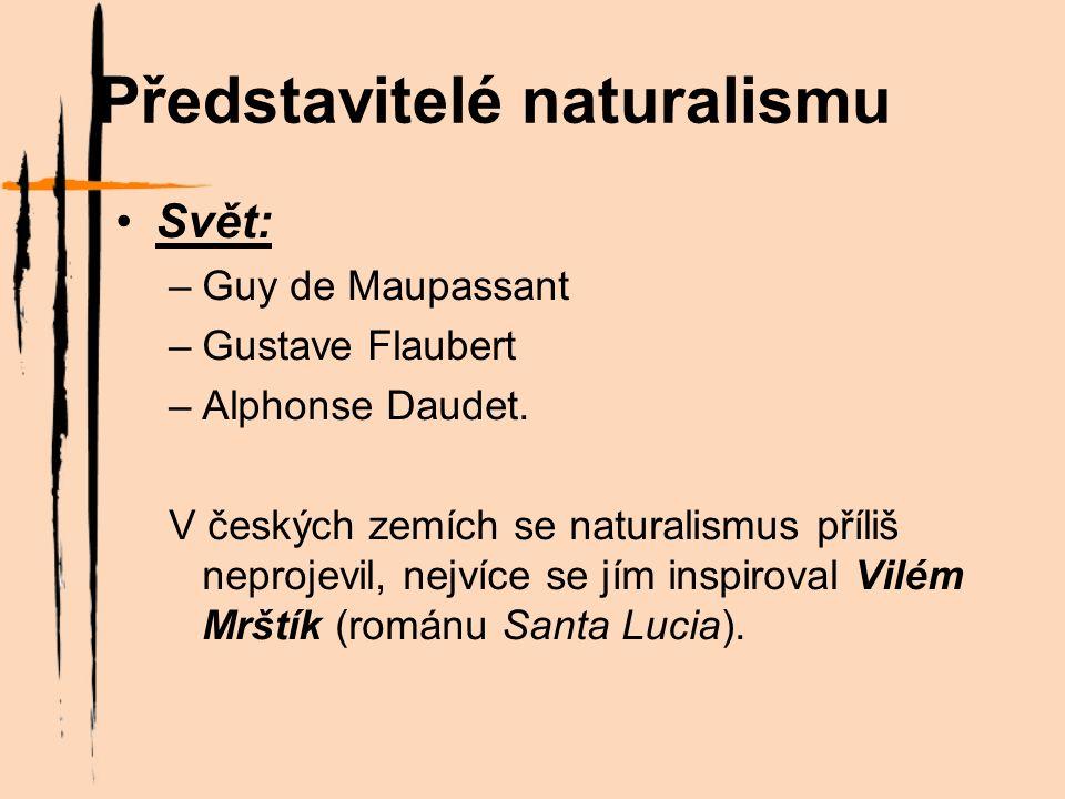 Představitelé naturalismu Svět: –Guy de Maupassant –Gustave Flaubert –Alphonse Daudet.