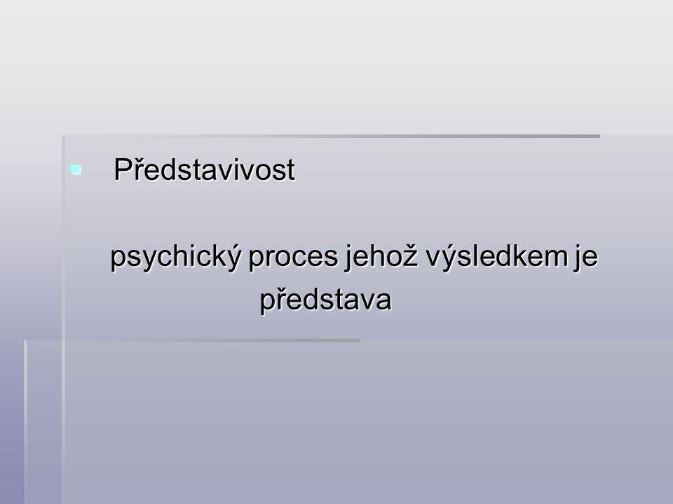  Představivost psychický proces jehož výsledkem je psychický proces jehož výsledkem je představa představa