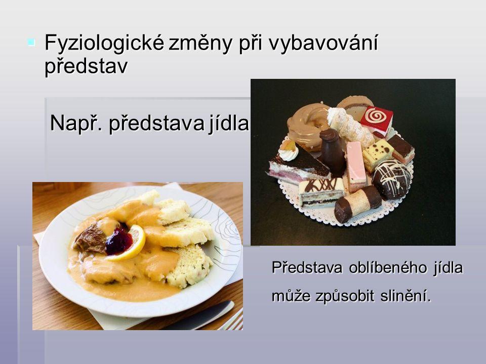  Fyziologické změny při vybavování představ Např. představa jídla Např. představa jídla Představa oblíbeného jídla Představa oblíbeného jídla může zp