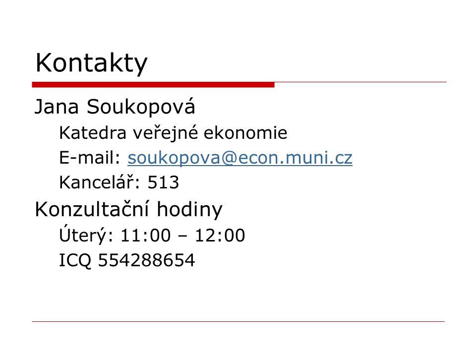Kontakty Jana Soukopová Katedra veřejné ekonomie E-mail: soukopova@econ.muni.czsoukopova@econ.muni.cz Kancelář: 513 Konzultační hodiny Úterý: 11:00 –