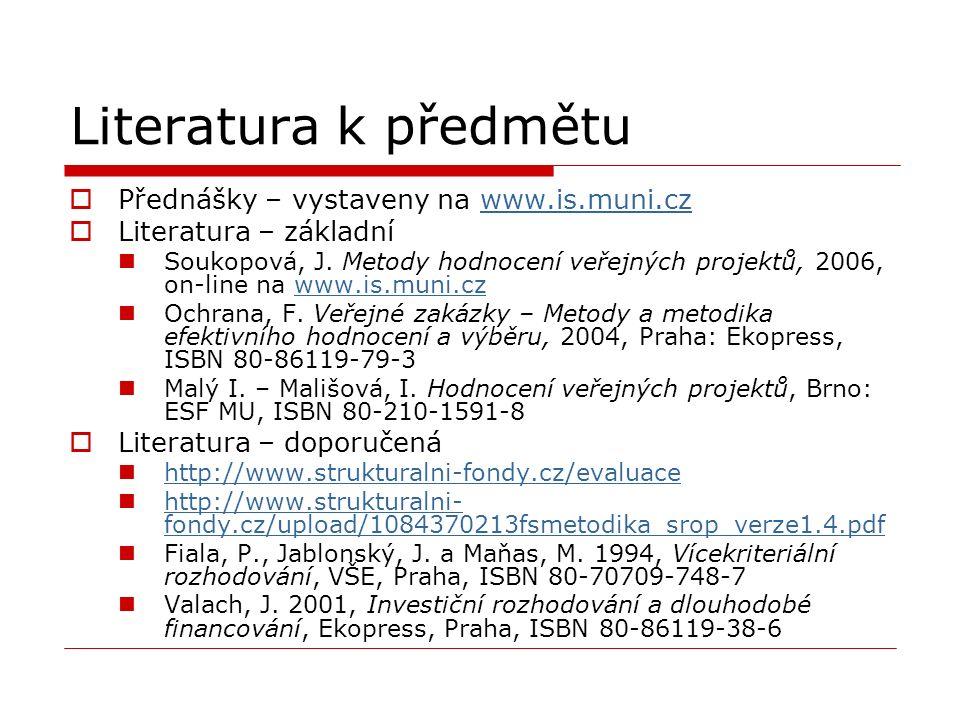 Literatura k předmětu  Přednášky – vystaveny na www.is.muni.czwww.is.muni.cz  Literatura – základní Soukopová, J. Metody hodnocení veřejných projekt