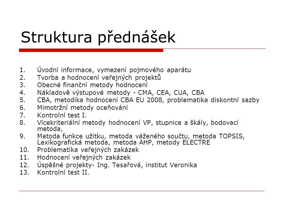 Struktura přednášek 1.Úvodní informace, vymezení pojmového aparátu 2.Tvorba a hodnocení veřejných projektů 3.Obecné finanční metody hodnocení 4.Nákladově výstupové metody - CMA, CEA, CUA, CBA 5.CBA, metodika hodnocení CBA EU 2008, problematika diskontní sazby 6.Mimotržní metody oceňování 7.Kontrolní test I.
