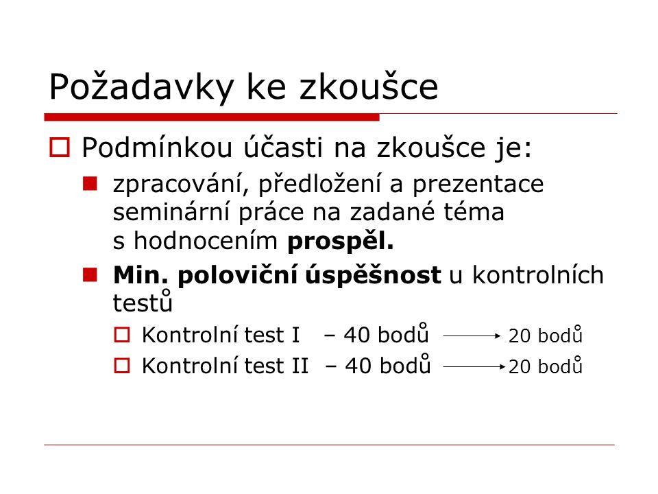 Požadavky ke zkoušce  Podmínkou účasti na zkoušce je: zpracování, předložení a prezentace seminární práce na zadané téma s hodnocením prospěl.