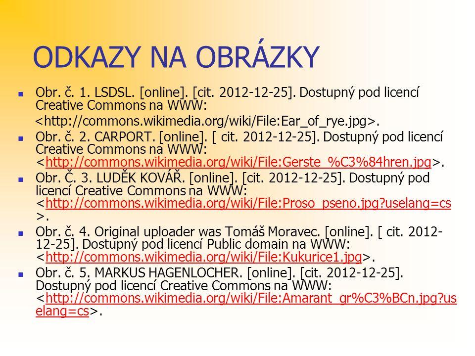 ODKAZY NA OBRÁZKY Obr. č. 1. LSDSL. [online]. [cit. 2012-12-25]. Dostupný pod licencí Creative Commons na WWW:. Obr. č. 2. CARPORT. [online]. [ cit. 2