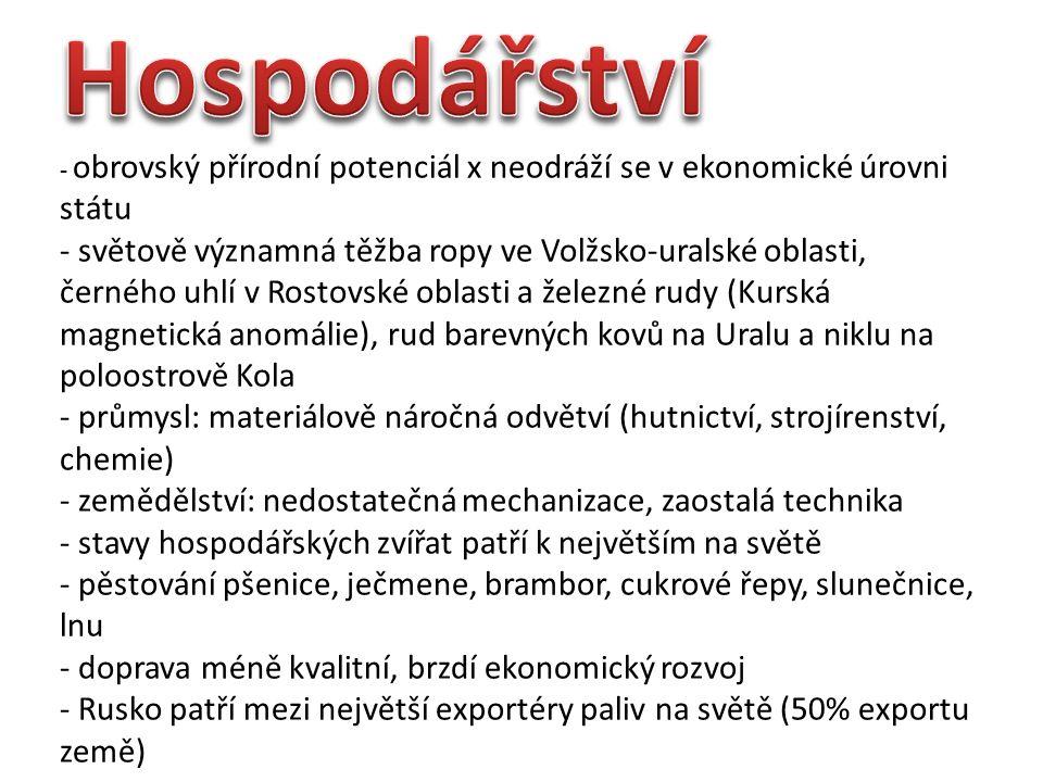 - obrovský přírodní potenciál x neodráží se v ekonomické úrovni státu - světově významná těžba ropy ve Volžsko-uralské oblasti, černého uhlí v Rostovské oblasti a železné rudy (Kurská magnetická anomálie), rud barevných kovů na Uralu a niklu na poloostrově Kola - průmysl: materiálově náročná odvětví (hutnictví, strojírenství, chemie) - zemědělství: nedostatečná mechanizace, zaostalá technika - stavy hospodářských zvířat patří k největším na světě - pěstování pšenice, ječmene, brambor, cukrové řepy, slunečnice, lnu - doprava méně kvalitní, brzdí ekonomický rozvoj - Rusko patří mezi největší exportéry paliv na světě (50% exportu země)