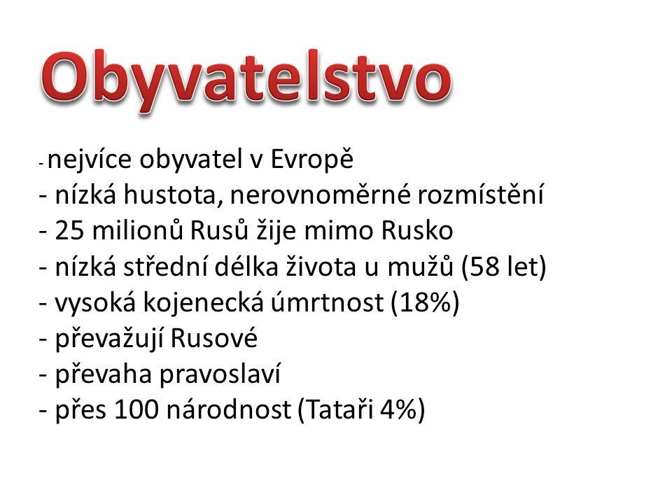 - nejvíce obyvatel v Evropě - nízká hustota, nerovnoměrné rozmístění - 25 milionů Rusů žije mimo Rusko - nízká střední délka života u mužů (58 let) - vysoká kojenecká úmrtnost (18%) - převažují Rusové - převaha pravoslaví - přes 100 národnost (Tataři 4%)
