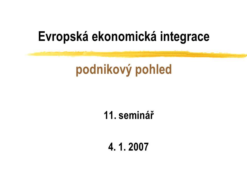 Evropská ekonomická integrace podnikový pohled 11. seminář 4. 1. 2007