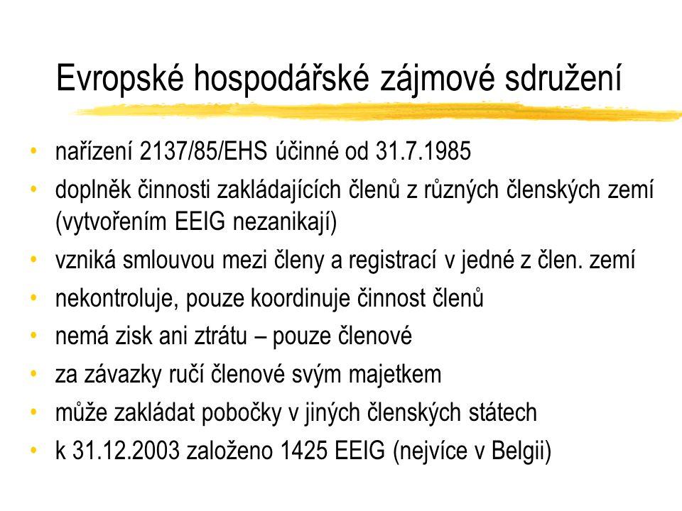 Evropské hospodářské zájmové sdružení nařízení 2137/85/EHS účinné od 31.7.1985 doplněk činnosti zakládajících členů z různých členských zemí (vytvořením EEIG nezanikají) vzniká smlouvou mezi členy a registrací v jedné z člen.
